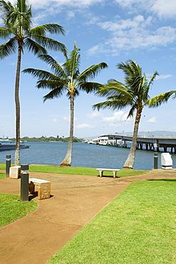 Park at the seaside, USS Bowfin, Pearl Harbor, Honolulu, Oahu, Hawaii Islands, USA