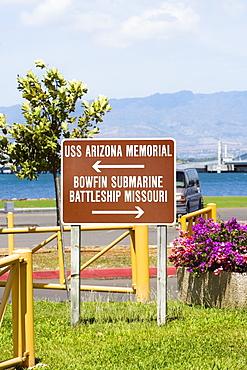 Information board at a museum, Pearl Harbor, Honolulu, Oahu, Hawaii Islands, USA