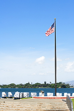 American flag fluttering at the seaside, Pearl Harbor, Honolulu, Oahu, Hawaii Islands, USA