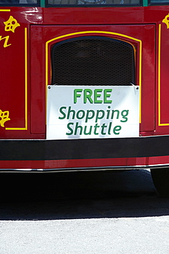 Close-up of a commercial signboard on a bus, Hawaii islands, USA