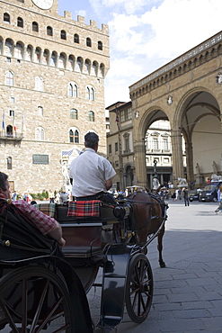 Rear view of a man driving a horsedrawn carriage, Portico of the Lansquenetes, Florence, Italy