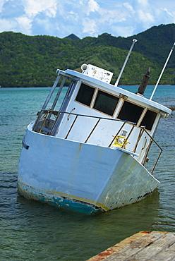 Boat sinking in the sea, Providencia y Santa Catalina, San Andres y Providencia Department, Colombia