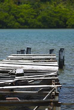 Damaged pier in the sea, Providencia y Santa Catalina, San Andres y Providencia Department, Colombia