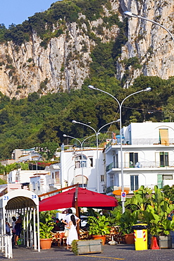 Buildings with a mountain in the background, Capri, Campania, Italy