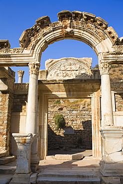 Old ruins of the entrance gate of a temple, Temple of Hadrian, Ephesus, Turkey