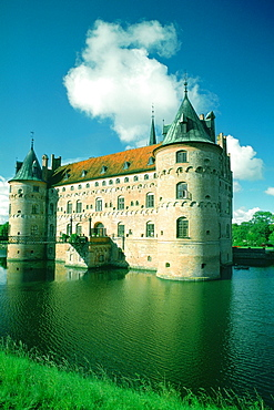 Castle at the waterfront, Egeskov Castle, Funen County, Denmark
