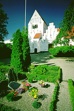 Cemetery in front of a church, Funen County, Denmark