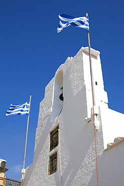 Low angle view of a bell tower, Rhodes, Dodecanese Islands, Greece