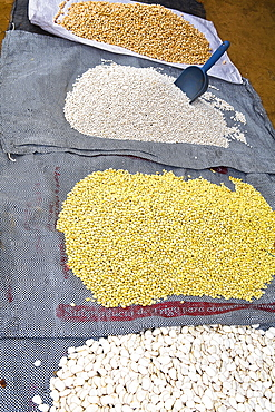High angle view of grains at a market stall, Ica, Ica Region, Peru