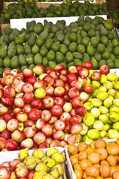 High angle view of assorted fruits at a market stall, Ica, Ica Region, Peru
