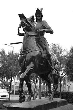 Low angle view of a Francisco Pizarro statue, Lima, Peru