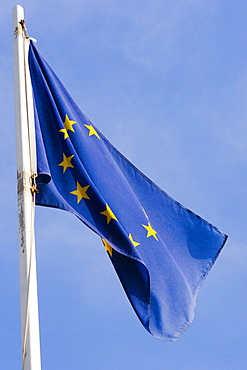 Low angle view of a European Union Flag, Biarritz, France
