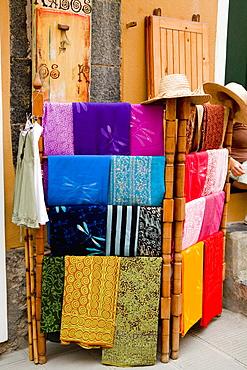 Clothes at a market stall, Cinque Terre National Park, Vernazza, La Spezia, Liguria, Italy