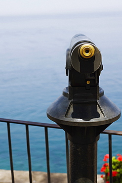 Coin-operated binoculars at an observation point, Sorrento, Naples Province, Campania, Italy