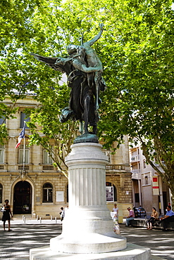 Low angle view of a statue, Place Jean Moulin, Bordeaux, France