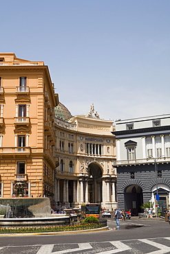 Fountain in front of a building, Galleria Umberto I, Naples, Naples Province, Campania, Italy