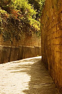 Walls along a street, Sorrento, Sorrentine Peninsula, Naples Province, Campania, Italy