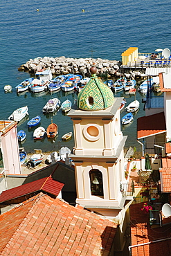 High angle view of a church, Church Of St. Anna, Marina Grande, Capri, Sorrento, Sorrentine Peninsula, Naples Province, Campania, Italy