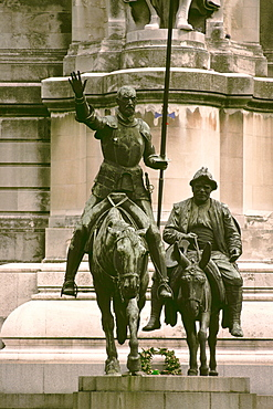 Close-up of two statues, Don Quixote, Sancho Panza, Madrid, Spain