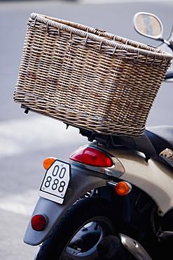 Wicker basket on a moped, Italian Riviera, Santa Margherita Ligure, Genoa, Liguria, Italy