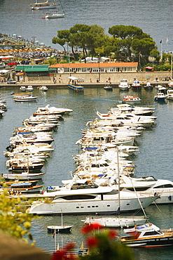 Boats docked at a harbor, Sorrento, Sorrentine Peninsula, Naples Province, Campania, Italy