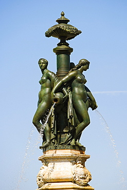 Low angle view of a fountain statue, Fontaine Des Trois Graces, Bordeaux, Aquitaine, France