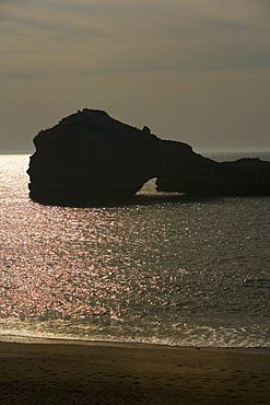 Silhouette of rock formations in the sea, Biarritz, France