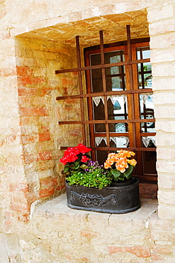 Flowers in a window box on a window sill, Monteriggioni, Siena Province, Tuscany, Italy