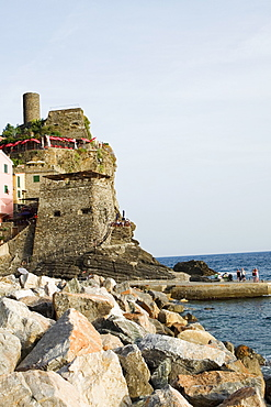 Castle at the seaside, Doria Castle, Italian Riviera, Cinque Terre National Park, Vernazza, La Spezia, Liguria, Italy