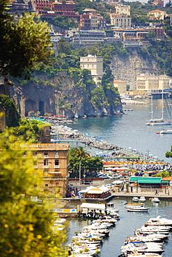 Boats docked at a harbor, Marina Grande, Capri, Sorrento, Sorrentine Peninsula, Naples Province, Campania, Italy