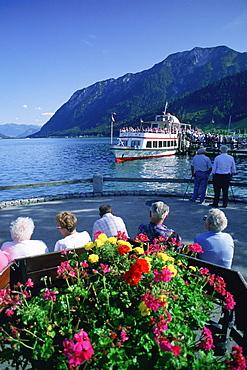 Rear view of tourist near a lake, Lake Lansersee, Austria