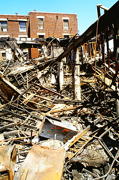 High angle view of a damaged building, South Los Angeles, Los Angeles, California, USA