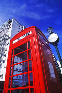 Low angle view of a telephone booth