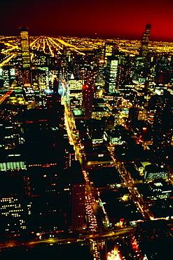 Chicago at night from John Hancock building