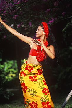 Close-up of a young woman dancing, Hawaii, USA