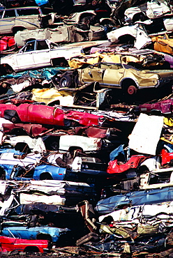 Close up on piles of junk cars, Los Angeles , CA