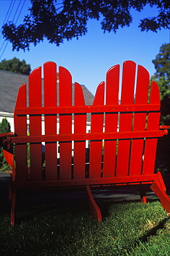 Two deck chairs on a lawn, Cape Cod, Massachusetts, USA