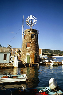 View of a windmill near a harbor, St. Croix, U.S. Virgin Islands