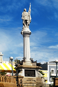 Low angle view of a statue mounted on a pillar, San Juan, Puerto Rico