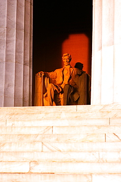 Low angle view of an Abraham Lincoln statue, Lincoln Memorial, Washington DC, USA