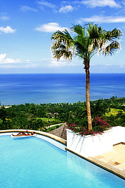 High angle view of a woman relaxing in a swimming pool, Endless Summer Villa, Montego Bay, Jamaica.