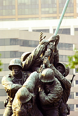 Low angle view of a war memorial, Iwo Jima Memorial, Virginia, USA