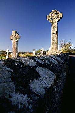 Celtic crosses in a graveyard, Davacliff, Republic of Ireland