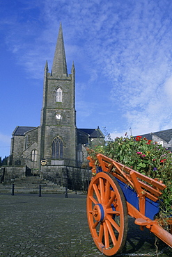 Close-up of a cart in front of a church, Clones County Monaghan, Republic of Ireland