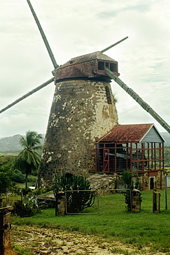 A deserted windmill once used to process sugar cane at Barbados, Caribbean