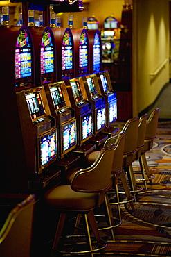 Close-up of slot machines in a casino, Las Vegas, Nevada, USA