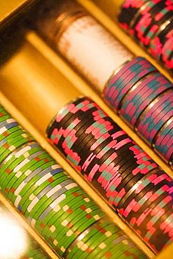 Close-up of gambling chips, Las Vegas, Nevada, USA