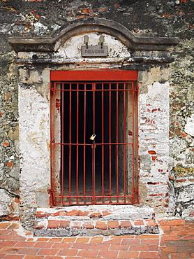 Padlock on a prison cell, Castillo de San Felipe, Cartagena, Colombia
