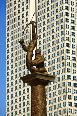 Low angle view of a statue in front of a building, Miami, Florida, USA
