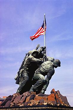 Low angle view of war memorials, Iwo Jima Memorial, Virginia, USA